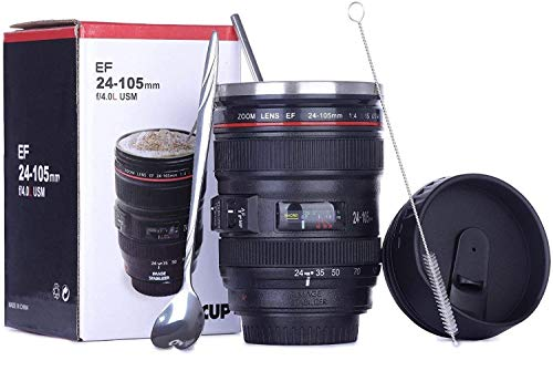 412z8uUShVL - Coffee Mug,Camera Lens Cup with Sipping Lid,Super Bundle(Spoon+Straw+Brush),Insulated Stainless Steel Travel Mug,Beer Tumbler,Photographer Tea Cup,Novelty Gifts for All Festival,by Triumphic