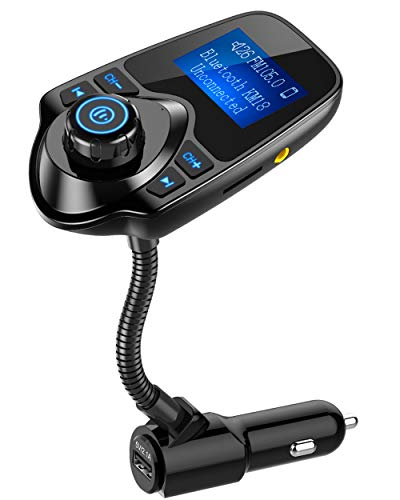 415kAN2Blz8L - Nulaxy Bluetooth Car FM Transmitter Audio Adapter Receiver Wireless Hands Free Car Kit W 1.44 Inch Display - KM18 Black