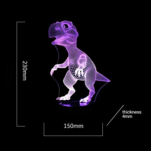 416oXVkcezL - Dinosaur 3D Night Light Touch Activated Desk Lamp, Ticent 7 Colors 3D Optical Illusion Lights with Acrylic Flat, ABS Base & USB Charger for Christmas Kids Gifts