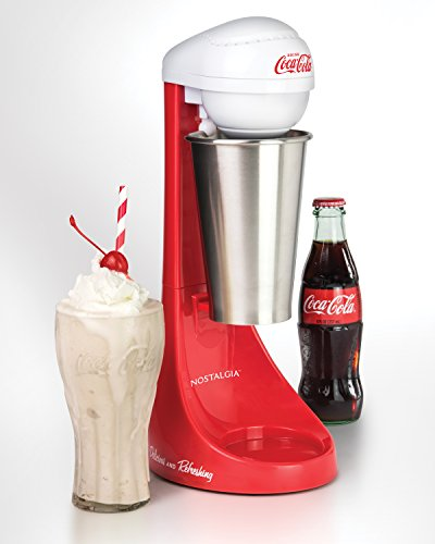 41AaVLbBVWL - Nostalgia MLKS100COKE Two-Speed Electric Coca-Cola Limited Edition Milkshake Maker and Drink Mixer, Includes 16-Ounce Stainless Steel Mixing Cup & Rod-Red, 16 oz
