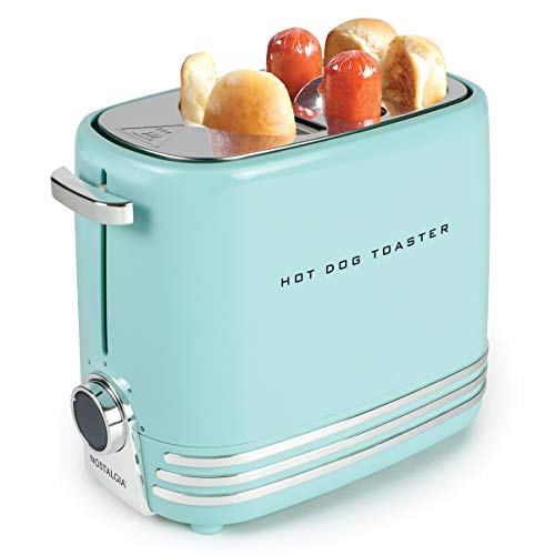 41D2Bo pKf1L - Nostalgia HDT900AQ Pop-Up 2 Hot Dog and Bun Toaster With Mini Tongs, Works with Chicken, Turkey, Veggie Links, Sausages and Brats, Aqua Chrome