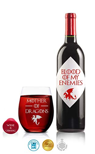 41FSVa7fS9L - Game Of Thrones Wine Glasses - Mother of Dragons - Novelty Drinking Games - Stemless Wine Glass 15 OZ