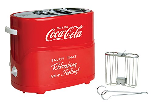 41GWGfOt7ML - Nostalgia HDT600COKE Coca-Cola Pop-Up 2 Hot Dog and Bun Toaster, With Mini Tongs, Works With Chicken, Turkey, Veggie Links, Sausages and Brats, Red