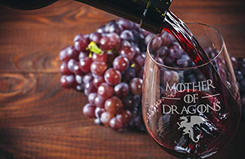 41ICD54tE4L - Game Of Thrones Wine Glasses - Mother of Dragons - Novelty Drinking Games - Stemless Wine Glass 15 OZ