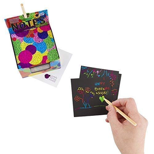 41MYl6JcjdL - Rainbow Scratch Off Mini Notes + 2 Stylus Pens Kit: 150 Sheets of Rainbow Scratch Paper for Kids Arts and Crafts, Airplane or Car Travel Toys - Cute Unique Gift Idea for Kids, Girls, Women, or Anyone!