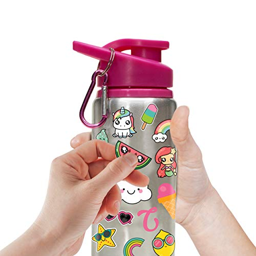 41OPhC7emsL - Decorate & Personalize Your Own Water Bottle for Girls with Tons of Fun On-trend Stickers! BPA Free 20 oz Kids Water Bottle! Cute & Creative Gift Idea for Girl, Fun DIY Art and Craft KIt for Children