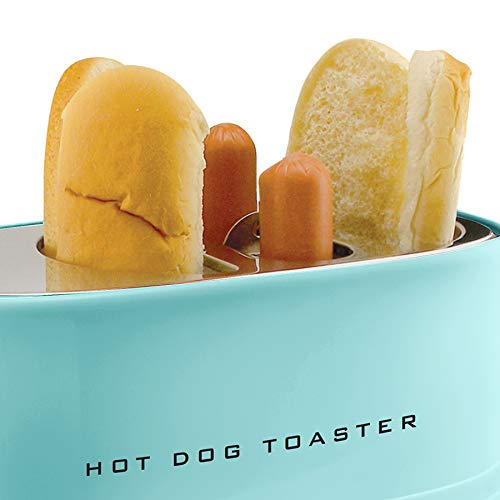 41Q5D wMXsL - Nostalgia HDT900AQ Pop-Up 2 Hot Dog and Bun Toaster With Mini Tongs, Works with Chicken, Turkey, Veggie Links, Sausages and Brats, Aqua Chrome