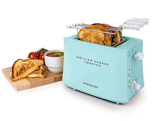 41TTpgwElUL - Nostalgia TCS2 Grilled Cheese Toaster with Easy-Clean Toaster Baskets and Adjustable Toasting Dial