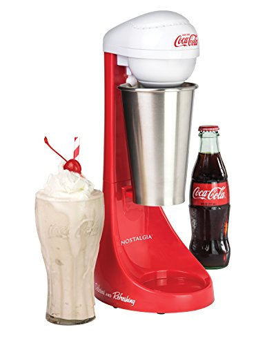 41UDCpXnuML - Nostalgia MLKS100COKE Two-Speed Electric Coca-Cola Limited Edition Milkshake Maker and Drink Mixer, Includes 16-Ounce Stainless Steel Mixing Cup & Rod-Red, 16 oz