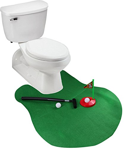 41UMS92B7aRL - Toilet Golf Potty Time Putter Game - Funny Gag Gifts for Adults