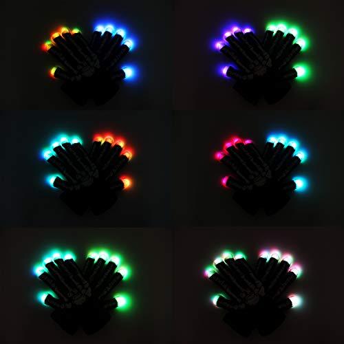 41UYcD8Wq7L - LED Light up Gloves Finger Light Gloves for Kids Adults Glow Rave EDM Gloves Funny Novelty Gifts