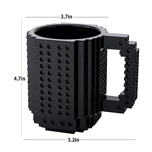 41YTVLh7mhL - BOMENNE Build-on Brick Mug,Novelty Creative Compatible with LEGO DIY building Blocks Coffee Cup with bricks,is unique Christmas gift Idea (Black)