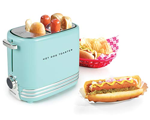 41dSmmey0kL - Nostalgia HDT900AQ Pop-Up 2 Hot Dog and Bun Toaster With Mini Tongs, Works with Chicken, Turkey, Veggie Links, Sausages and Brats, Aqua Chrome