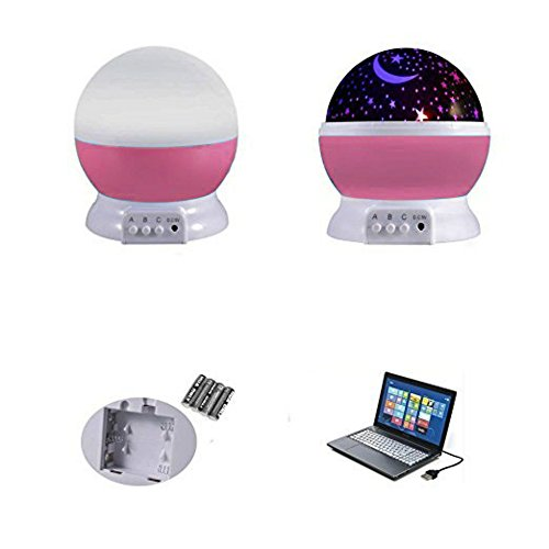41eF7WkBZ3L - Alenbrathy Night Light Lamp, Star Projector Romantic LED Night Light 360 Degree Rotation 4 LED Bulbs 9 Light Color Changing with USB Cable for Birthday,Parties,Kids Bedroom Or Christmas Gift. (Pink)