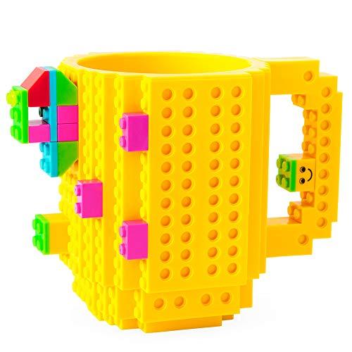 41gACLGaalL - BOMENNE Build-on Brick Mug,Novelty Creative Compatible with LEGO DIY building Blocks Coffee Cup with bricks,is unique Christmas gift Idea (Black)