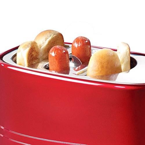41lXgNVkCSL - Nostalgia HDT900AQ Pop-Up 2 Hot Dog and Bun Toaster With Mini Tongs, Works with Chicken, Turkey, Veggie Links, Sausages and Brats, Aqua Chrome