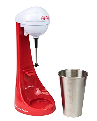 41nsXfsADBL - Nostalgia MLKS100COKE Two-Speed Electric Coca-Cola Limited Edition Milkshake Maker and Drink Mixer, Includes 16-Ounce Stainless Steel Mixing Cup & Rod-Red, 16 oz