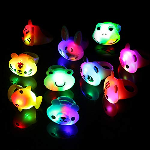 41qxuRryg4L - Light Up Rings Birthday Party Favors for Kids Prizes Flashing 24 Pack LED Jelly Rings Novelty Bulk Toys Boys Girls Gift Glow in The Dark Thanksgiving Christmas Party Supplies