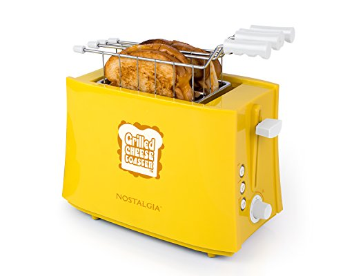 41wQWQD66sL - Nostalgia TCS2 Grilled Cheese Toaster with Easy-Clean Toaster Baskets and Adjustable Toasting Dial