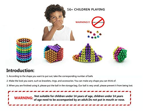 51 4HfVIqwL - JIFENGTOYS 8 Colors 216 Pcs 5MM Magnets Fidget Blocks Building Toys Magnetic Building Blocks Sets for Development Stress Relief Learning Gift for Adults (216 PCS)