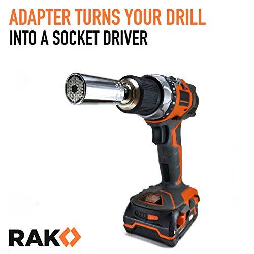 512BIOMoz6xL - RAK Universal Socket Grip (7-19mm) Multi-Function Ratchet Wrench Power Drill Adapter 2Pc Set - Best Unique Christmas Gift for Men, DIY Handyman, Father/Dad, Husband, Boyfriend, Him, Women
