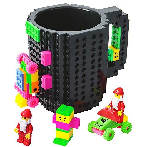 512HINUNuZL - BOMENNE Build-on Brick Mug,Novelty Creative Compatible with LEGO DIY building Blocks Coffee Cup with bricks,is unique Christmas gift Idea (Black)