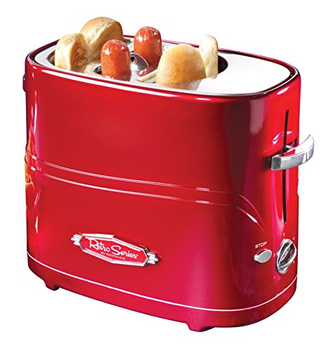 512TsWWej3L - Nostalgia HDT900AQ Pop-Up 2 Hot Dog and Bun Toaster With Mini Tongs, Works with Chicken, Turkey, Veggie Links, Sausages and Brats, Aqua Chrome