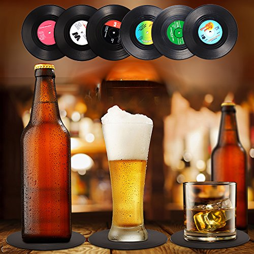 514hc7Ezf5L - Record Coasters for Drinks, Funny, Absorbent, Novelty 6 Pieces Vinyl Disk Coasters, Effective Protection of the Desktop to Prevent Damage- 4.1 Inch Size by ZAYAD