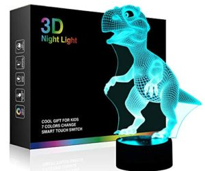 514vuTq2BpcL 300x250 - Dinosaur 3D Night Light Touch Activated Desk Lamp, Ticent 7 Colors 3D Optical Illusion Lights with Acrylic Flat, ABS Base & USB Charger for Christmas Kids Gifts