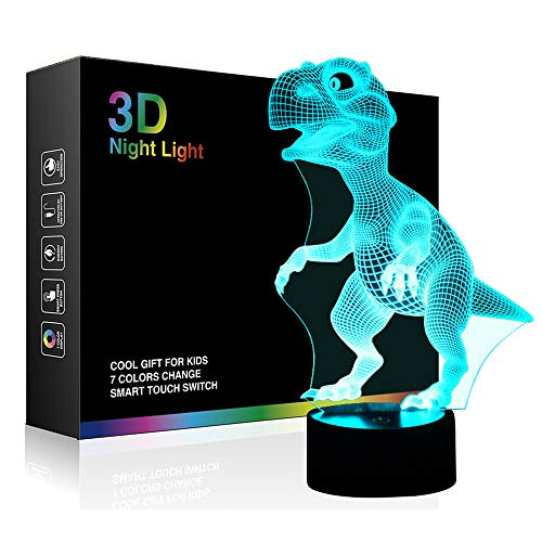 514vuTq2BpcL - Dinosaur 3D Night Light Touch Activated Desk Lamp, Ticent 7 Colors 3D Optical Illusion Lights with Acrylic Flat, ABS Base & USB Charger for Christmas Kids Gifts