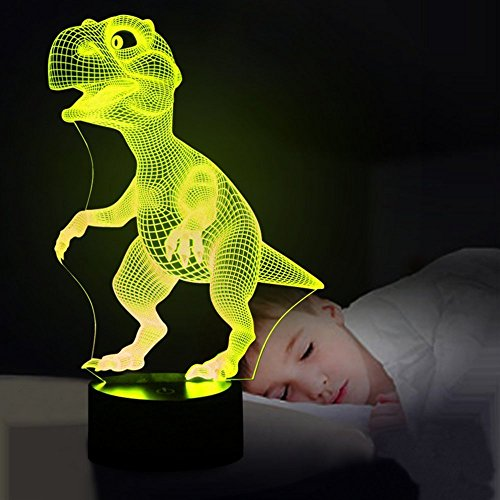 5150Ln Pt4L - Dinosaur 3D Night Light Touch Activated Desk Lamp, Ticent 7 Colors 3D Optical Illusion Lights with Acrylic Flat, ABS Base & USB Charger for Christmas Kids Gifts