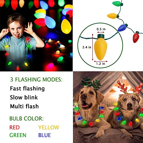 515VmvczL1L - Twinkle Star Christmas Lights Bulb Necklace, Novelty Gifts for Women Kids, Ugly Xmas Sweater Accessories Holiday Party Supplies, 2 Pack