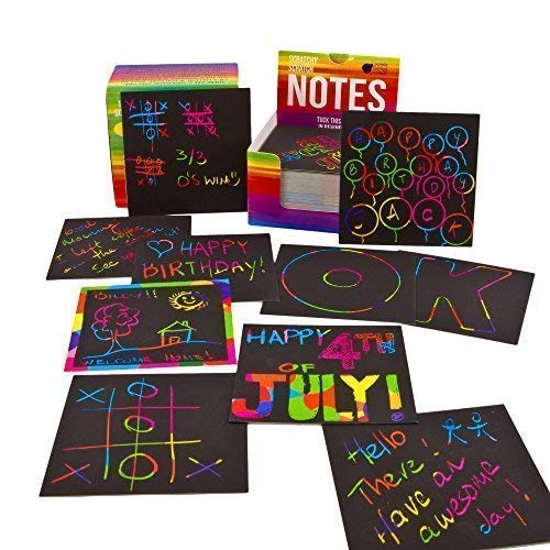 51719eX9xrL - Rainbow Scratch Off Mini Notes + 2 Stylus Pens Kit: 150 Sheets of Rainbow Scratch Paper for Kids Arts and Crafts, Airplane or Car Travel Toys - Cute Unique Gift Idea for Kids, Girls, Women, or Anyone!