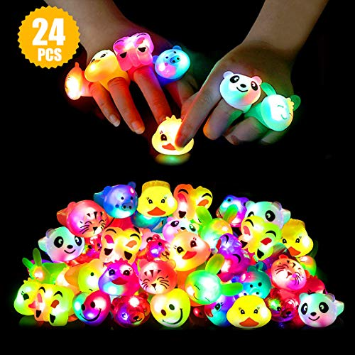 519HwKRmLKL - Light Up Rings Birthday Party Favors for Kids Prizes Flashing 24 Pack LED Jelly Rings Novelty Bulk Toys Boys Girls Gift Glow in The Dark Thanksgiving Christmas Party Supplies