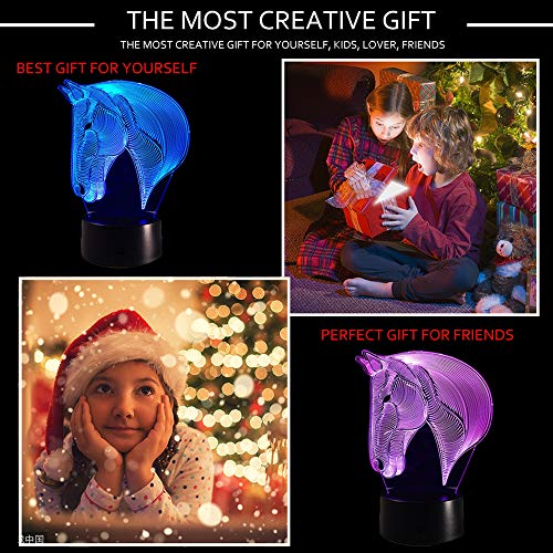 519Ovx70xRL - Dinosaur 3D Night Light Touch Activated Desk Lamp, Ticent 7 Colors 3D Optical Illusion Lights with Acrylic Flat, ABS Base & USB Charger for Christmas Kids Gifts