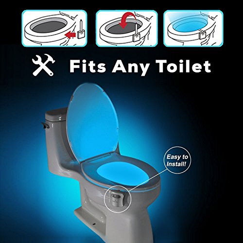 51BUHSZuuIL - The Original Toilet Night Light Tech Gadget. Fun Bathroom Motion Sensor LED Lighting. Weird Novelty Funny Birthday Gag Stocking Stuffer Gifts Ideas for Him Her Guys Men Boys Toddlers Mom Papa Brother