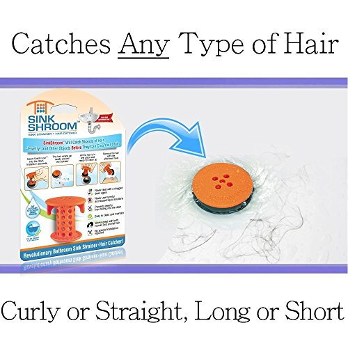 51BoA2wtxcL - SinkShroom The Revolutionary Sink Drain Protector Hair Catcher/Strainer/Snare, White
