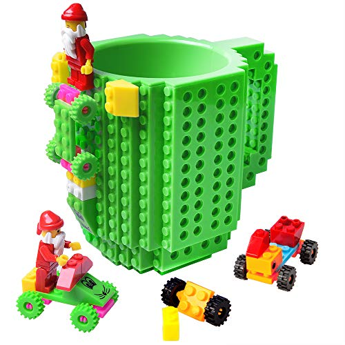 51C7 1pK L - BOMENNE Build-on Brick Mug,Novelty Creative Compatible with LEGO DIY building Blocks Coffee Cup with bricks,is unique Christmas gift Idea (Black)