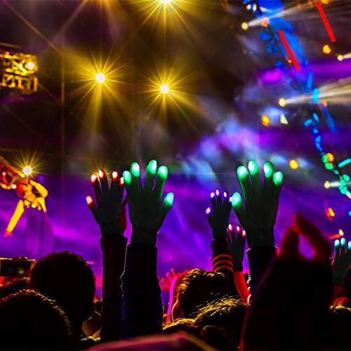 51GoEnolsnL - LED Light up Gloves Finger Light Gloves for Kids Adults Glow Rave EDM Gloves Funny Novelty Gifts