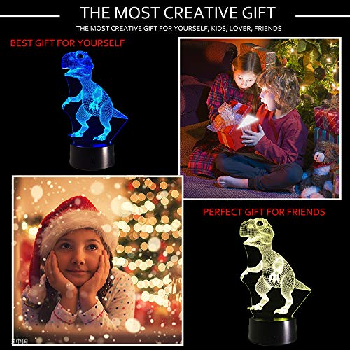 51I63jXOpSL - Dinosaur 3D Night Light Touch Activated Desk Lamp, Ticent 7 Colors 3D Optical Illusion Lights with Acrylic Flat, ABS Base & USB Charger for Christmas Kids Gifts