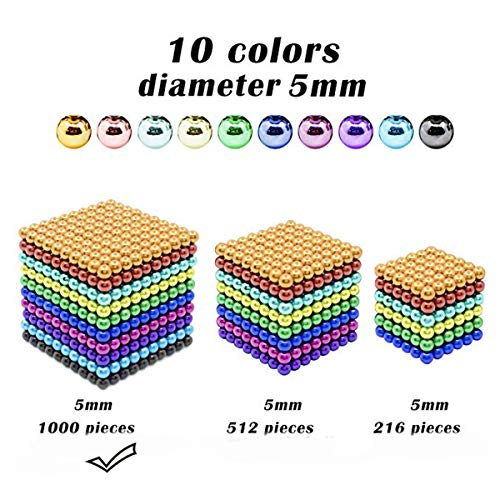 51IIU F9AUL - JIFENGTOYS 8 Colors 216 Pcs 5MM Magnets Fidget Blocks Building Toys Magnetic Building Blocks Sets for Development Stress Relief Learning Gift for Adults (216 PCS)