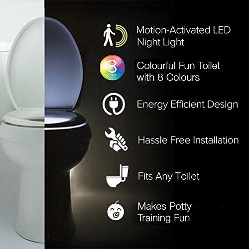 51IpCz8cWNL - The Original Toilet Night Light Tech Gadget. Fun Bathroom Motion Sensor LED Lighting. Weird Novelty Funny Birthday Gag Stocking Stuffer Gifts Ideas for Him Her Guys Men Boys Toddlers Mom Papa Brother