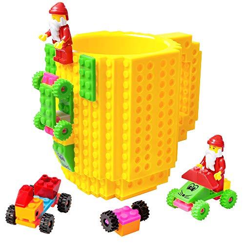 51JsVxp67dL - BOMENNE Build-on Brick Mug,Novelty Creative Compatible with LEGO DIY building Blocks Coffee Cup with bricks,is unique Christmas gift Idea (Black)