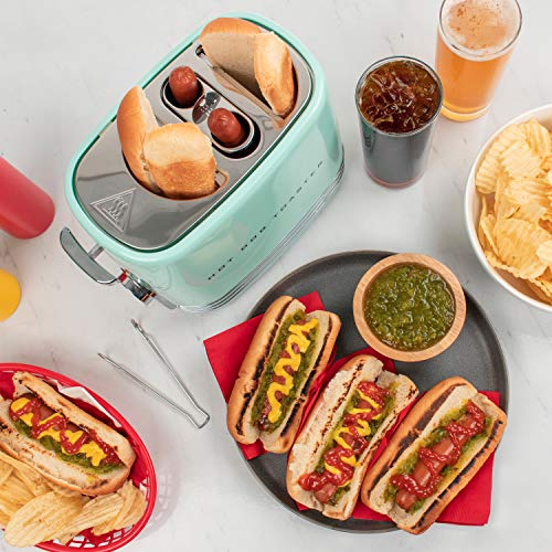 51LJGEW08XL - Nostalgia HDT900AQ Pop-Up 2 Hot Dog and Bun Toaster With Mini Tongs, Works with Chicken, Turkey, Veggie Links, Sausages and Brats, Aqua Chrome