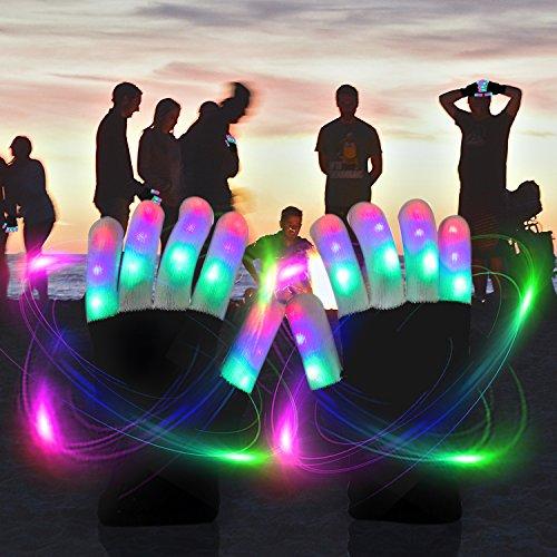51LTgSLFEVL - LED Light up Gloves Finger Light Gloves for Kids Adults Glow Rave EDM Gloves Funny Novelty Gifts