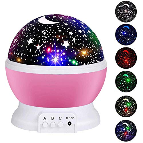 51LacKCY17L - Alenbrathy Night Light Lamp, Star Projector Romantic LED Night Light 360 Degree Rotation 4 LED Bulbs 9 Light Color Changing with USB Cable for Birthday,Parties,Kids Bedroom Or Christmas Gift. (Pink)