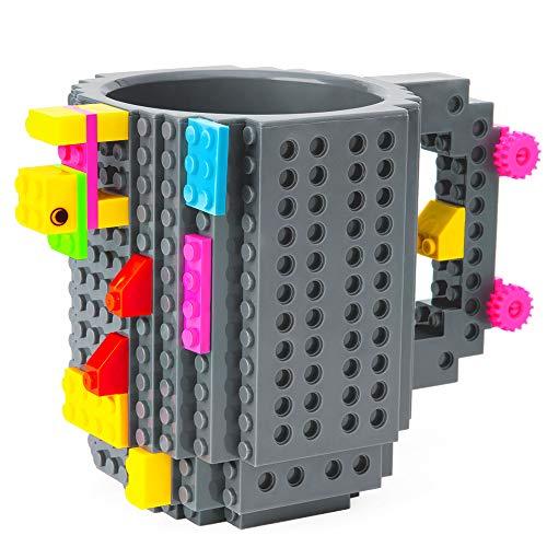 51P8Xm3uLtL - BOMENNE Build-on Brick Mug,Novelty Creative Compatible with LEGO DIY building Blocks Coffee Cup with bricks,is unique Christmas gift Idea (Black)