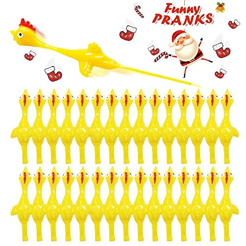 51PQP7RBBCL - Rubber Chicken Slingshot Novelty Stress Flickin Chicken Game Flying Chicken Toys Sticky Rubber Slingshot Chicken Office Pranks Easter Chicks Halloween Games Christmas Toys for Kids Adults 10 PCS