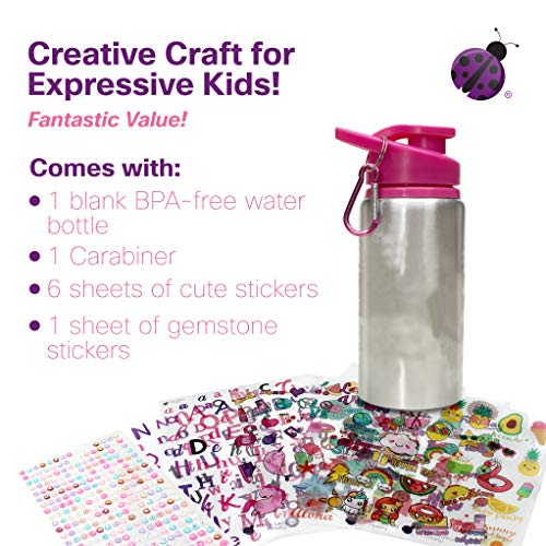 51QceLjaV1L - Decorate & Personalize Your Own Water Bottle for Girls with Tons of Fun On-trend Stickers! BPA Free 20 oz Kids Water Bottle! Cute & Creative Gift Idea for Girl, Fun DIY Art and Craft KIt for Children