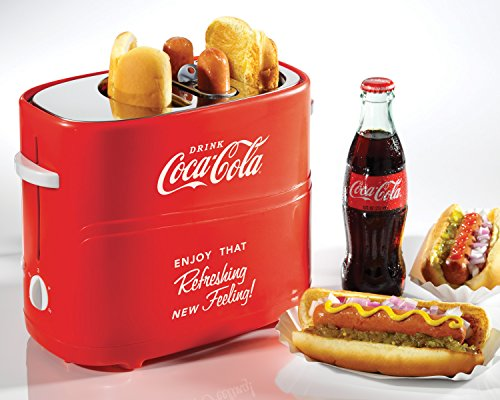51Skl704bJL - Nostalgia HDT600COKE Coca-Cola Pop-Up 2 Hot Dog and Bun Toaster, With Mini Tongs, Works With Chicken, Turkey, Veggie Links, Sausages and Brats, Red
